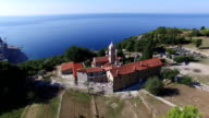 Aerial view of Rezevici Monastery a Serbian Orthodox monastery located in Katun Rezevici village between Budva and Petrovac video