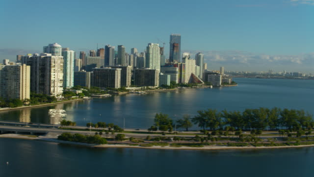 Aerial view of Rickenbacker Cauesway and downtown Miami video