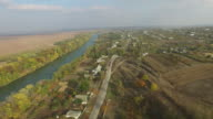 Aerial view of river and village video