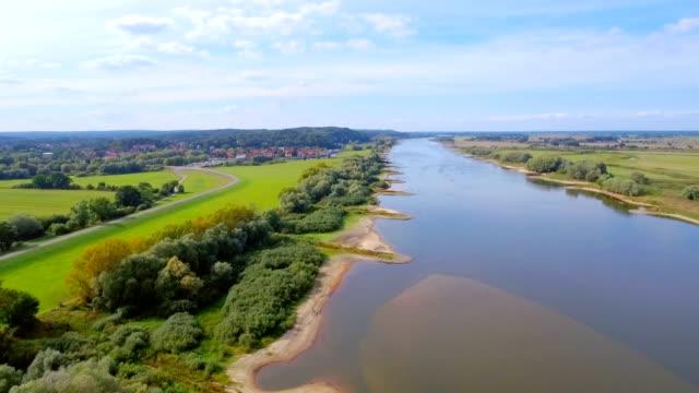 Aerial View of River Elbe and biosphere reserve 'Niedersächsische Elbtalaue' in Lower Saxony, Germany video