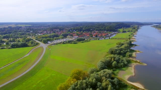 Aerial View of River Elbe and town Hitzacker in Lower Saxony, Germany video