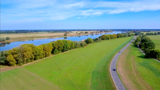 Aerial View of River Elbe in Lower Saxony, Germany video