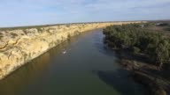 Aerial view of river murray cliffs Australia. Dirty brown water. video