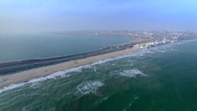 Aerial view of Road between Black Sea and Khadzhibey Estuary video