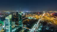 T/L WS Aerial View of Road Intersection at Night / Beijing, China video