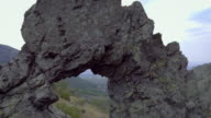 Aerial view of Rock formation 'Halkata' in the park 'Blue Stone' mountain, Bulgaria video