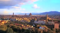 Aerial view of Romantic Florence, floating in the air colour bubbles, Italy video