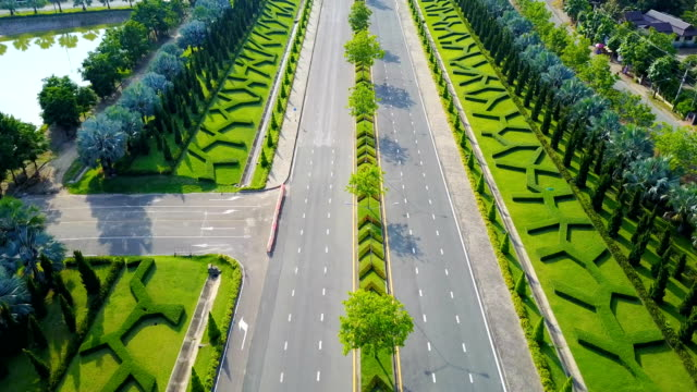 Aerial view of Royal Park Rajapruek approch to the road with beautiful green garden , Chiang Mai , Thailand. video
