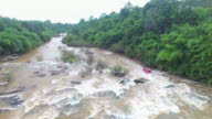 Aerial view of Rubber Boat Rafting at the Kek River, Phitsanulok,Thailand video