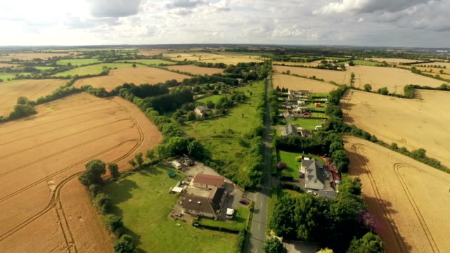 Aerial view of rural houses in Autumn in Ireland video