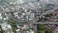 Aerial view of rush hour traffic on busy expressway video