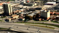 Aerial view of San Antonio auto traffic video