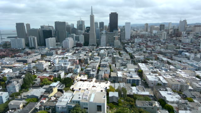 Aerial view of San Francisco financial center skyline video