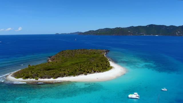 Aerial view of Sandy Cay, British Virgin Islands video