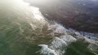 Aerial view of sea coast on sunset video