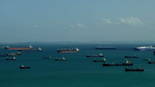 Aerial view of seascape with ships in the background video