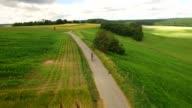 Aerial view of senior man riding his mountain bike video