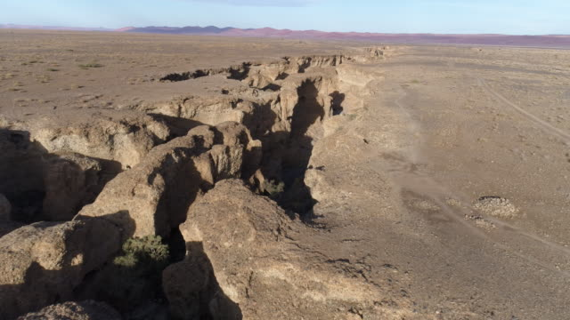 Aerial view of Sesriem canyon in the Namib desert video