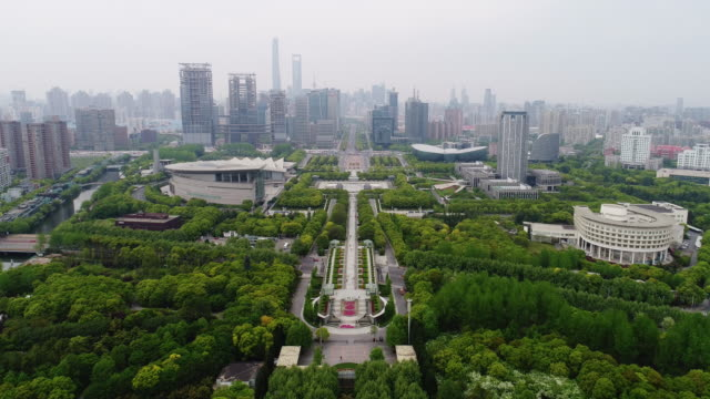 Aerial view of Shanghai Century Park and avenue in Pudong video