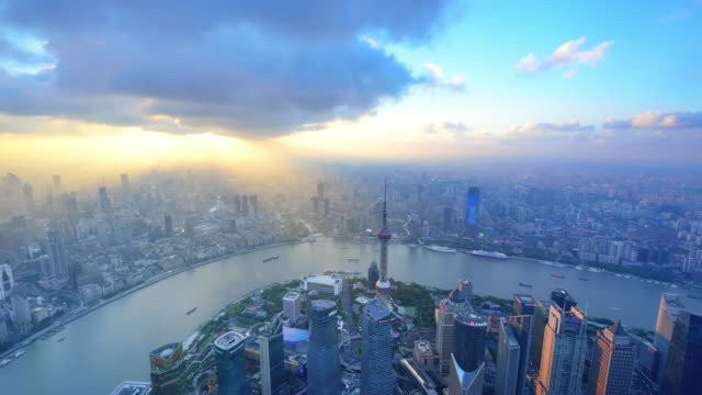Aerial view of Shanghai cityscape in dramatic sky video