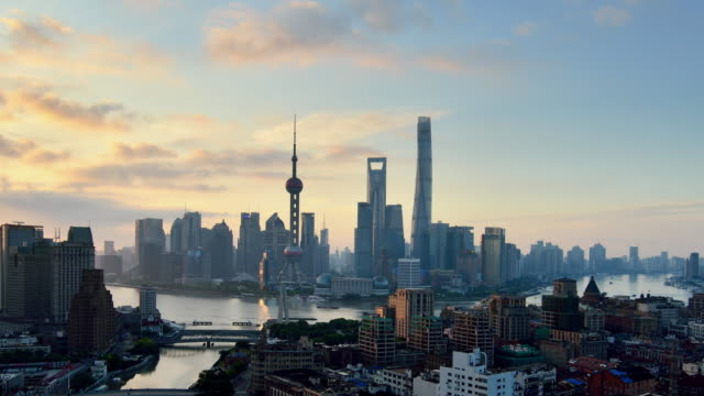 Aerial View of Shanghai Cityscape, Sunrise to Day Time lapse video