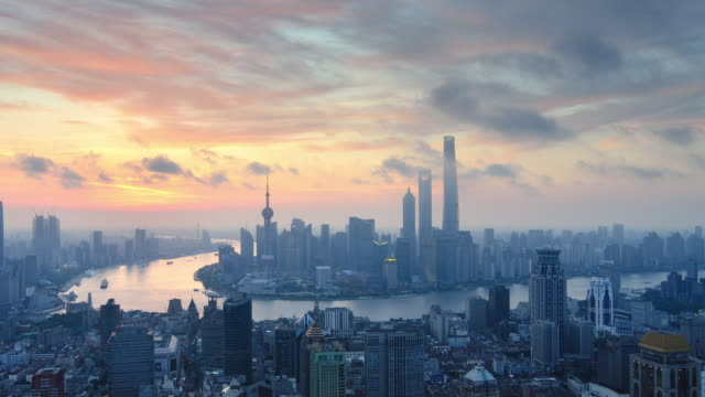Aerial View of Shanghai, Dawn to Day Time lapse video