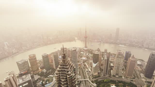 T/L WS HA PAN Aerial View of Shanghai Skyline in sunshine / Shanghai, China video