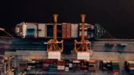 Aerial view of shipping containers in port video