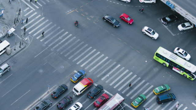 T/L MS HA ZO Aerial View of Shot Over City Street Crossing / Beijing, China video