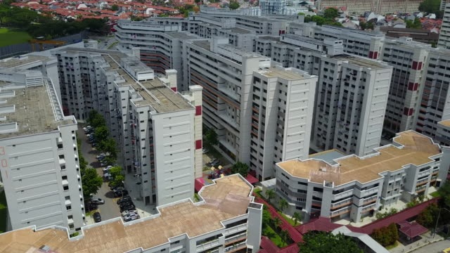 Aerial view of Singapore's house estates video
