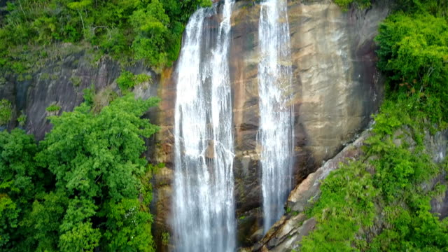 Aerial view of Siriphum waterfall with spray of water Splashing one of the famous waterfall at Doi Inthanon National Park mountain. Located in Chiang Mai, Thailand. video