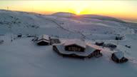Aerial view of ski resort at sunset video
