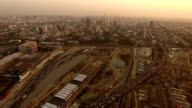 Aerial view of skyline Bangkok city at sunset video