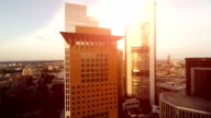 aerial view of skyline buildings at sunset. skyscrapers cityscape video