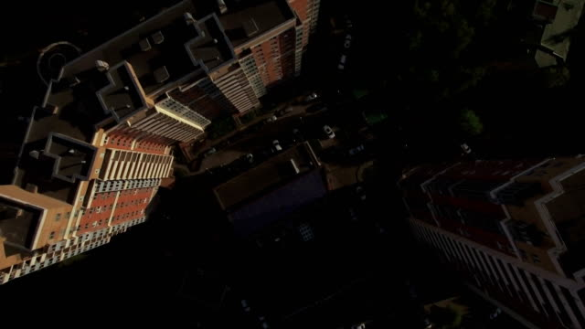 Aerial view of sleeping buildings and complexes with yard and playground, Moscow, Russia video