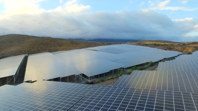 Aerial view of solar energy panels video