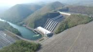 Aerial view of Srinakarin Dam in Thailand video