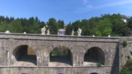 Aerial view of stone Tounj Bridge, Croatia video