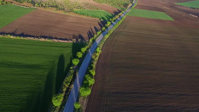 Aerial view of suburban road between fields video