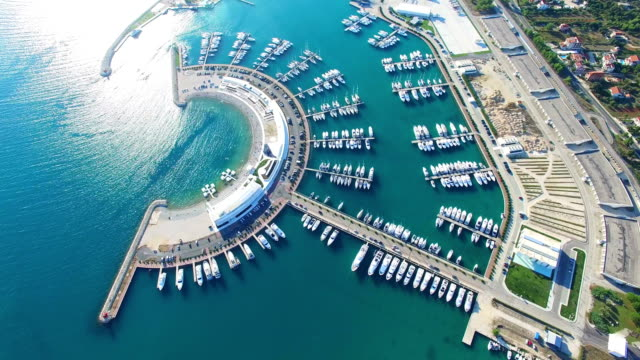 Aerial view of Sukosan port and its surrounding green landscape, Croatia video