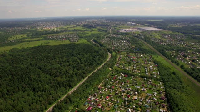 Aerial view of summer house community, Russia video