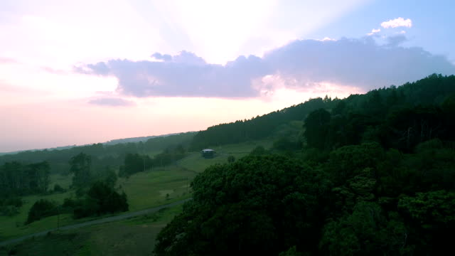 Aerial view of sunset and mountains. video