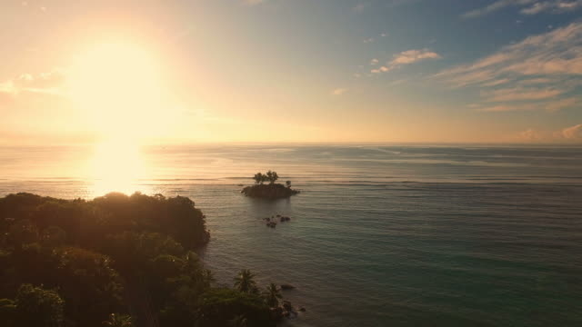 Aerial view of sunset, Anse Royale, Mahe Island, Seychelles Islands. video