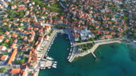 Aerial view of Supetar on Island of Brac video