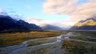Aerial view of  Tasman River at Aoraki Mount Cook National Park video