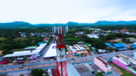 Aerial View of Telecom Antenna Tower with Drone video