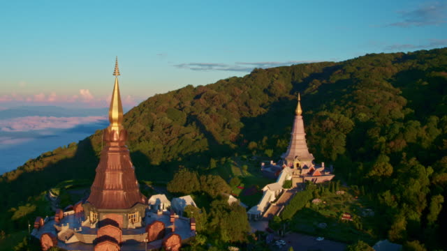 Aerial View of Temple at Sunrise video
