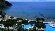 Aerial view of the beautiful beach and resort pool video