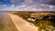 Aerial view of the beautiful seaside city of Parnu video