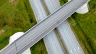 Aerial view of the big skyway road in the city in Ireland video